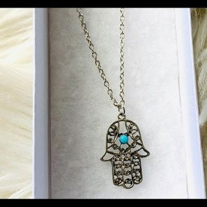 Jewelry - Hamsa necklace silver color with turquoise detail